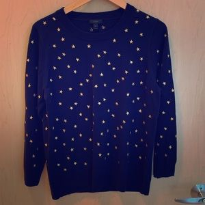 J Crew Tippi Sweater in Navy Embroidered Stars XL